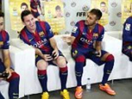 Barcelona stars (including Lionel Messi and Neymar) play FIFA 15 at La Masia